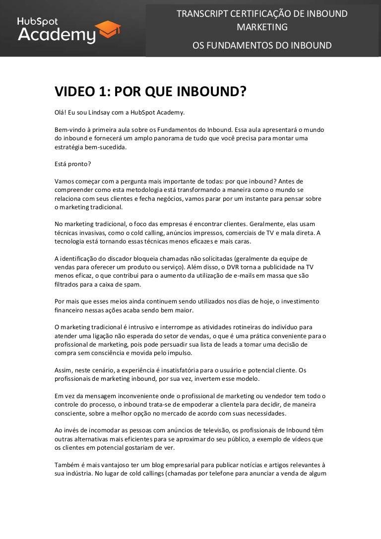Transcript completo Português Curso de Inbound @HubSpot