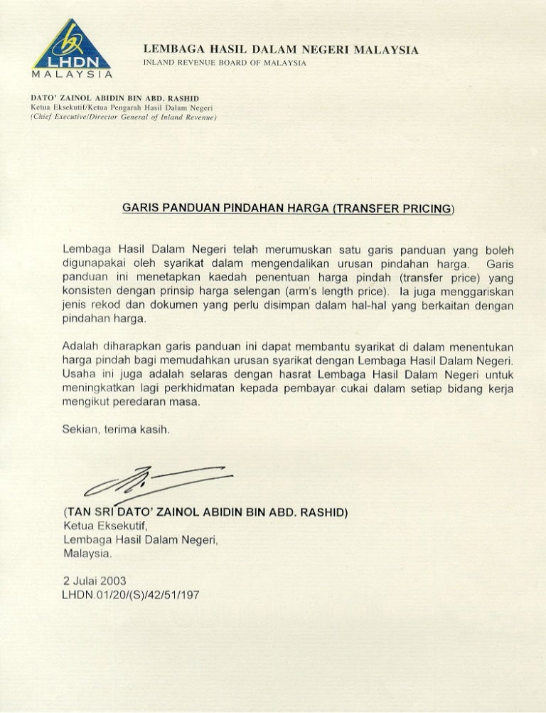 Transfer Pricing Guidelines Malaysia