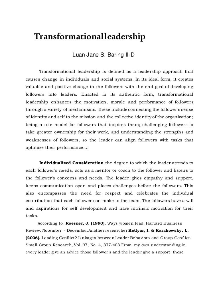 transformational leadership final essay
