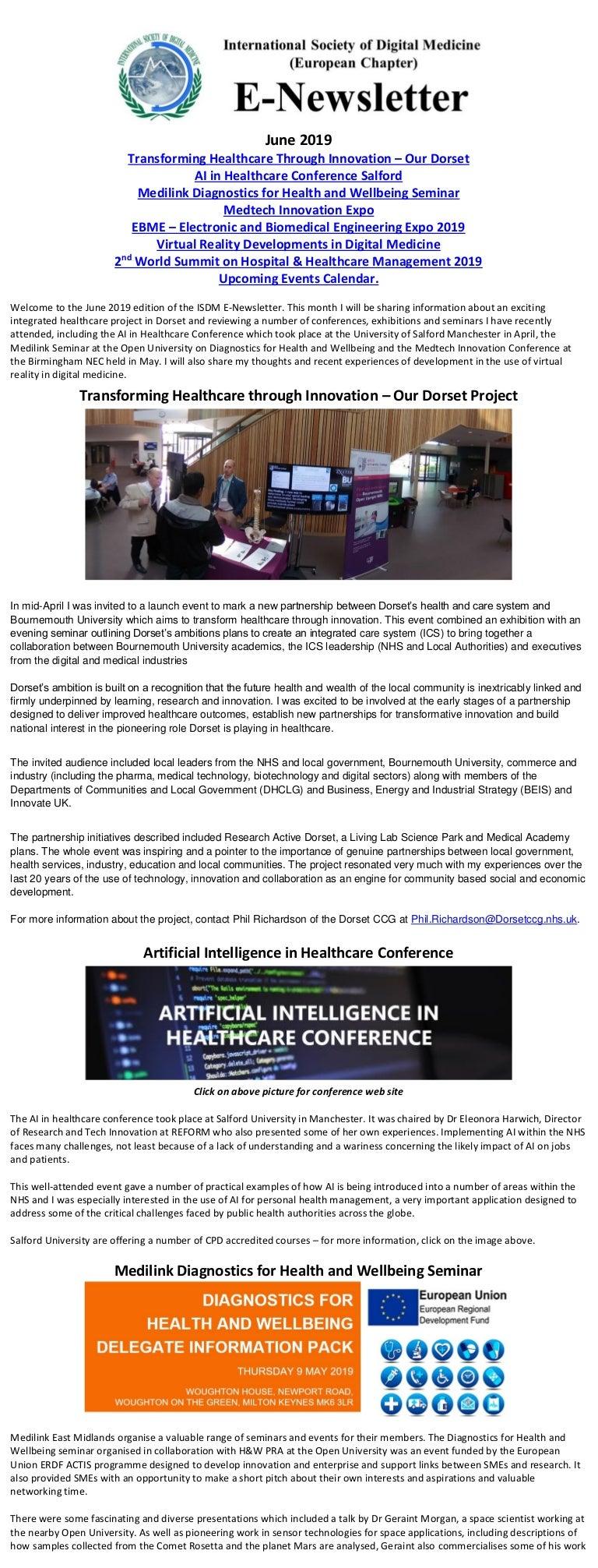 Transforming healthcare through innovation ISDM e-newsletter