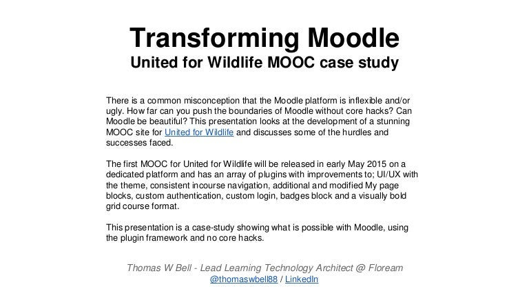 Transforming Moodle - United for Wildlife Implementation