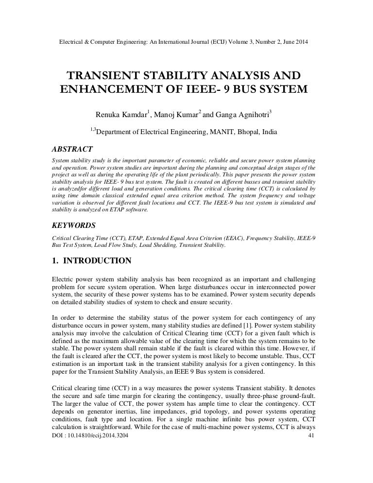 Transient stability analysis and enhancement of ieee 9 bus