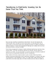Transitioning to Multi-family Investing Can Be Easier Than You Think