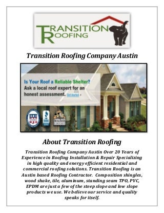Transition Roofing Company Austin: Roofing Contractor in TX