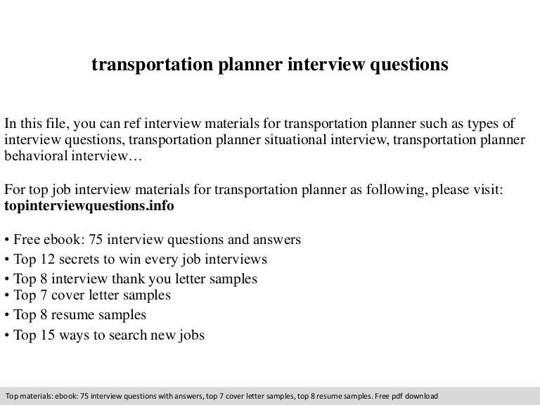 transportation planner interview questions