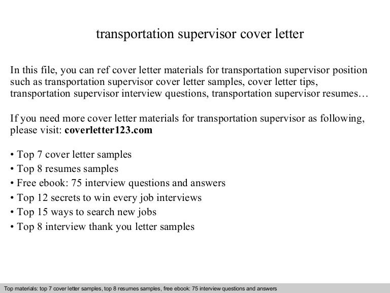 transportation supervisor resume samples