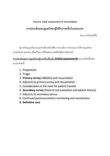 Trauma Initial assessment and Resuscitation
