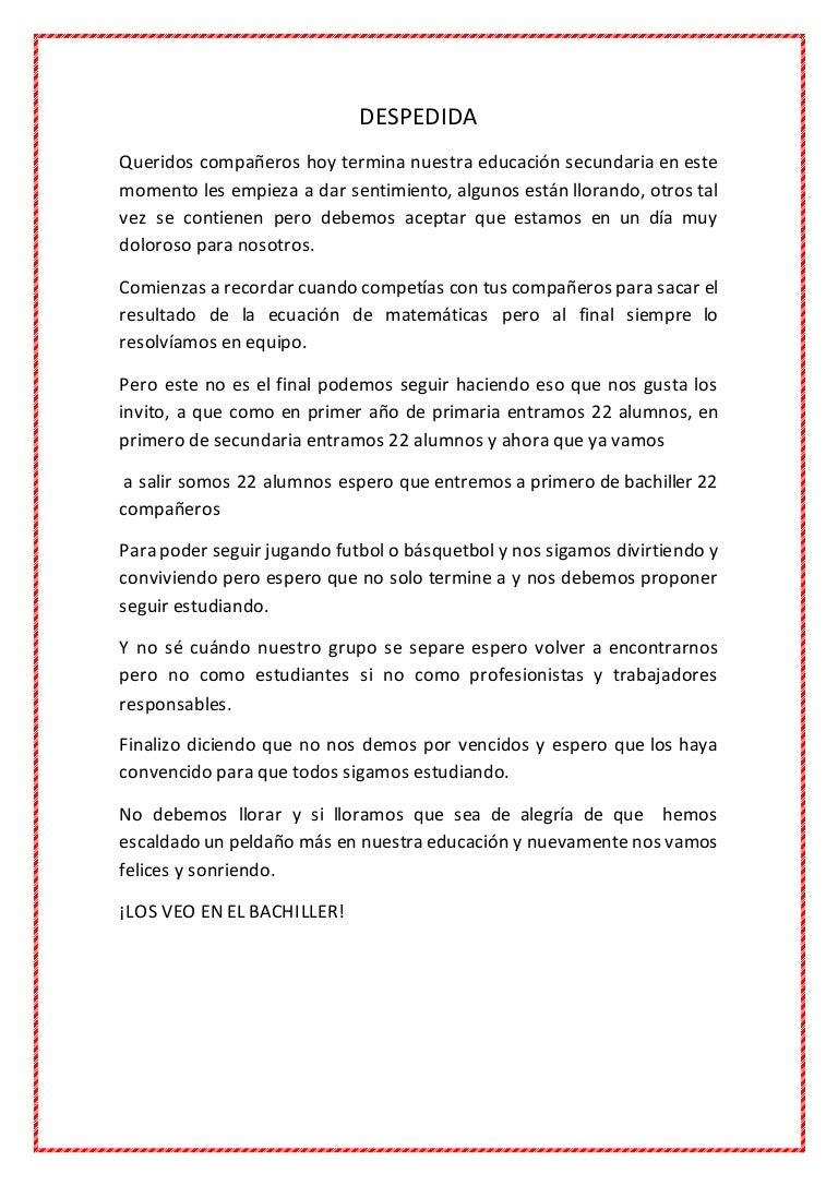 Carta De Despedida A Mis Compaa Eros Egresados J Carta De