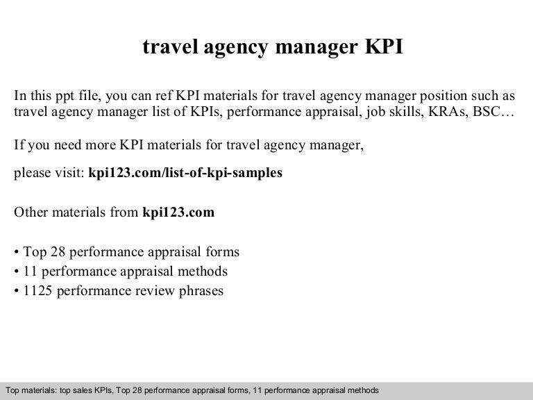 travel agency manager kpi
