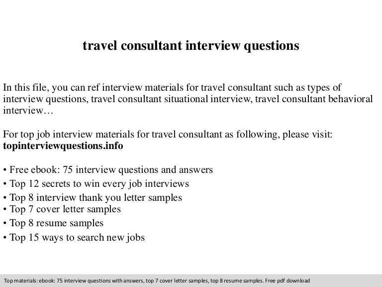 travel consultant interview questions