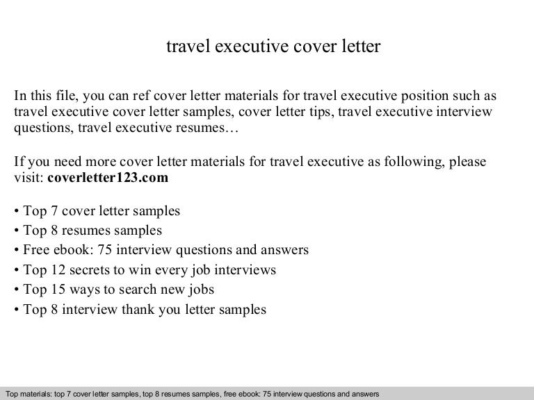 travel executive cover letter - Executive Resume Cover Letters