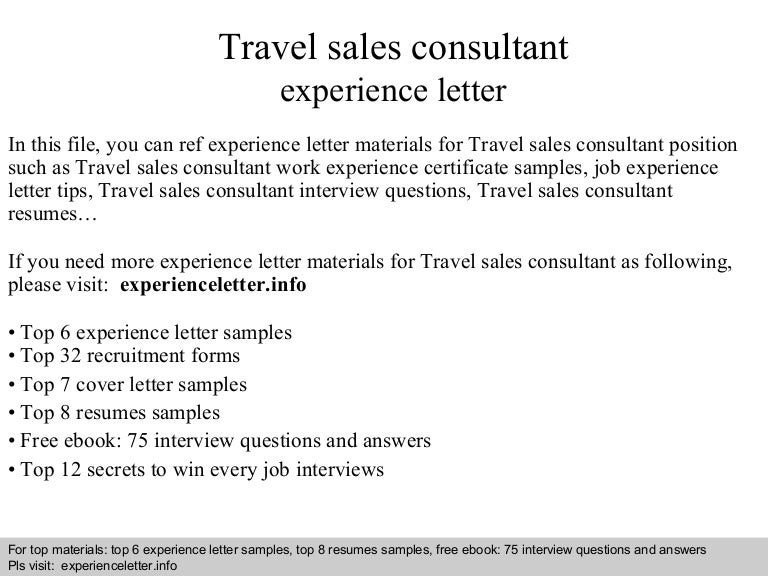 Travel Sales Consultant Experience Letter
