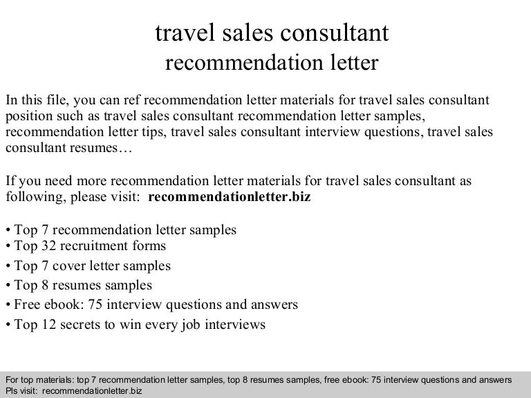Travel sales consultant recommendation letter