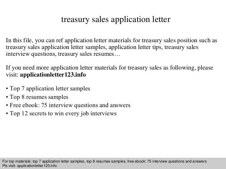 Treasury sales application letter spiritdancerdesigns Choice Image