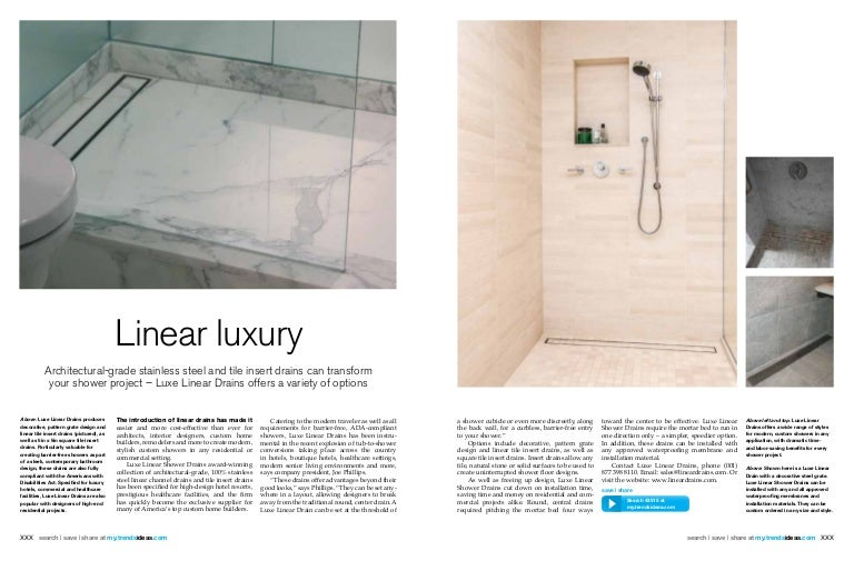 Trends Magazine Bathroom Issue April 2014 Features Luxe Linear Drai