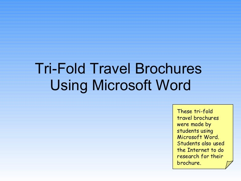 Tri Fold Travel Brochures Using Word