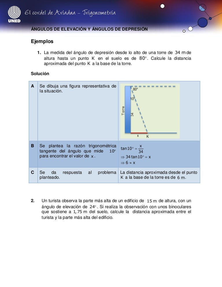 Trigonometria Angulos De Elevacion Y Angulos De Depresion