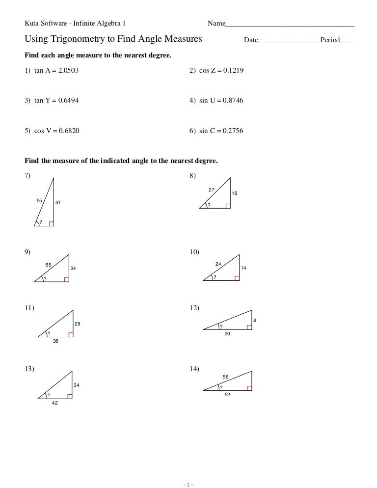 Trigonometry 20to 20 Find 20angle 20measures