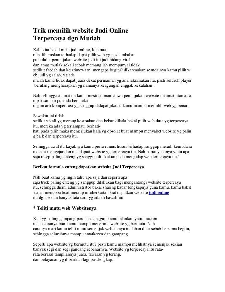 Trik Memilih Website Judi Online Terpercaya Dgn Mudah