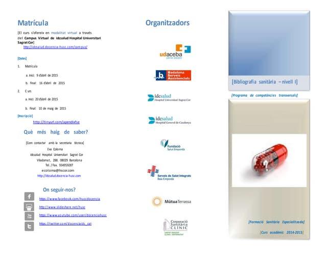 Tríptic informatiu: Curs sobre Bibliografia Sanitària - Nivell I