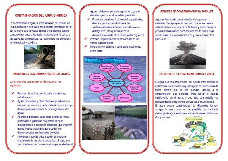 Triptico de la contaminacion del agua for 5 cuidados del suelo