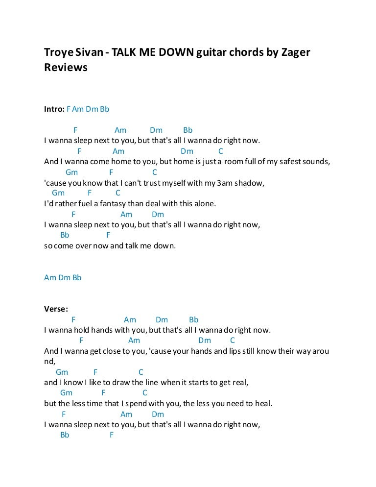 Troye Sivan Talk Me Down Guitar Chords By Zager Reviews