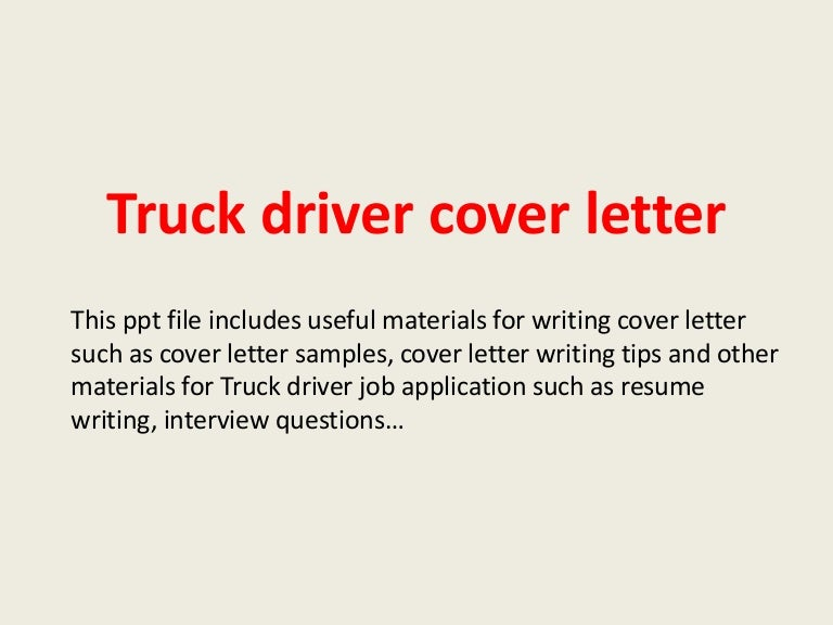 Truck Driver Cover Letter Sample