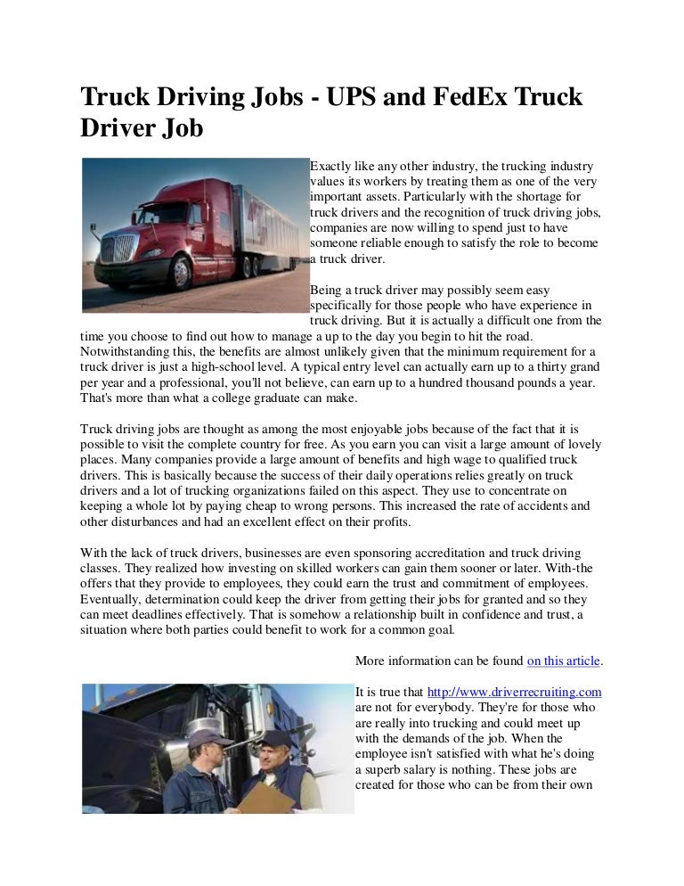 Truck Driving Jobs By Ups And Fed Ex Truck Driver Job