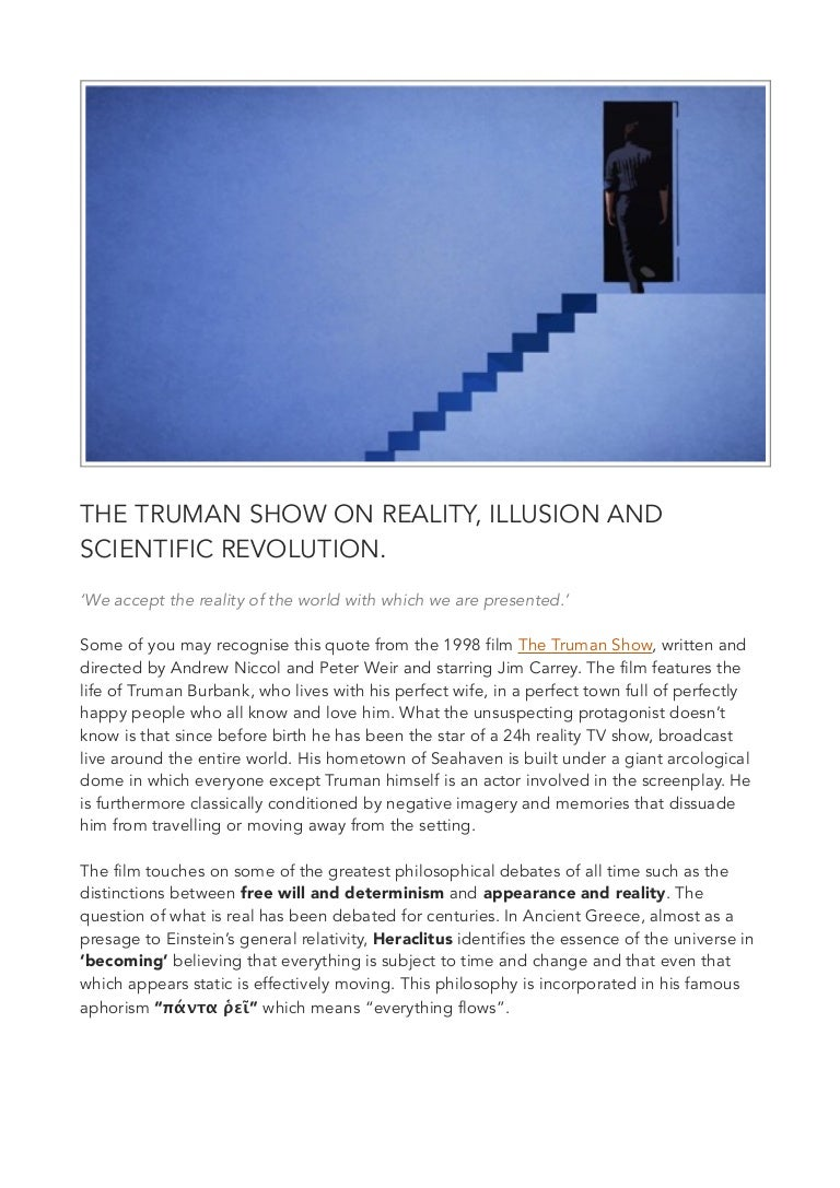 The Truman Show On Reality Illusion And Scientific Revolution  Narrative Essay Topics For High School also Business Plan Writing Services Reviews  Report Writing Civil Service College