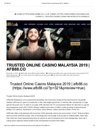 Trusted online casino malaysia 2019 - afb88.co