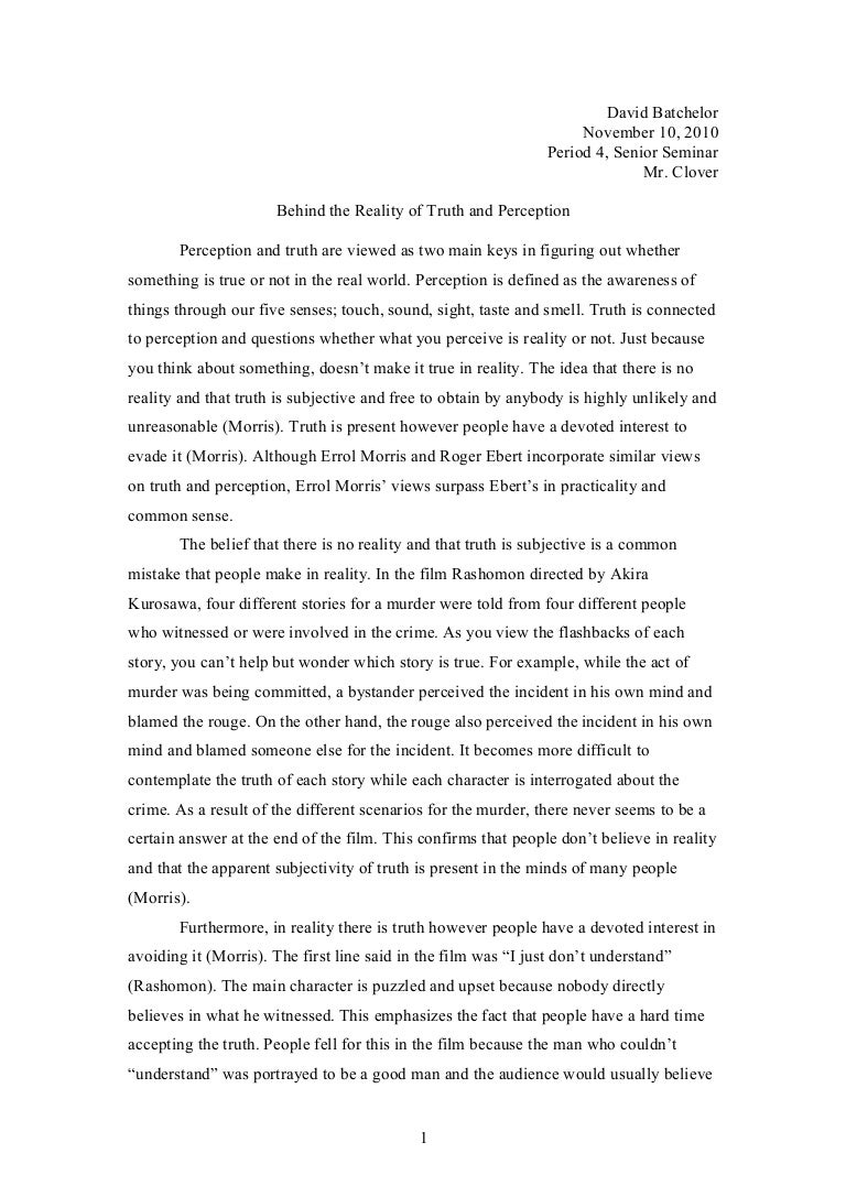 perception essay truth perception essay