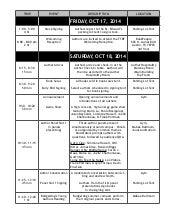TTBF 2014 AUTHOR SCHEDULE