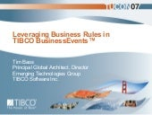 Leveraging Business Rules in TIBCO BusinessEvents