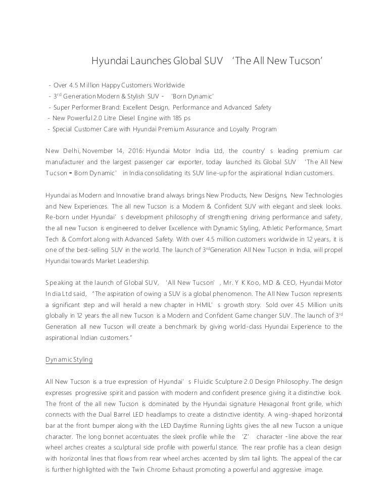 new car launch press releaseHyundai Tucson India Launch  Press Release