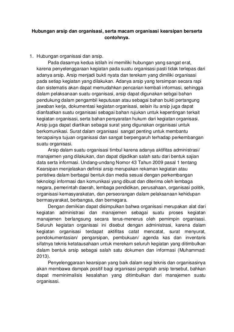 Artikel Hubungan Arsip Dan Organisasi Serta Macam Organisasi Kearsi