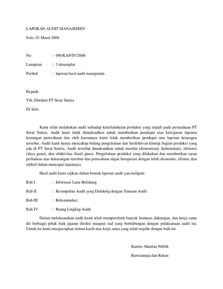 Contoh Laporan Hasil Audit Manajemen Seputar Laporan