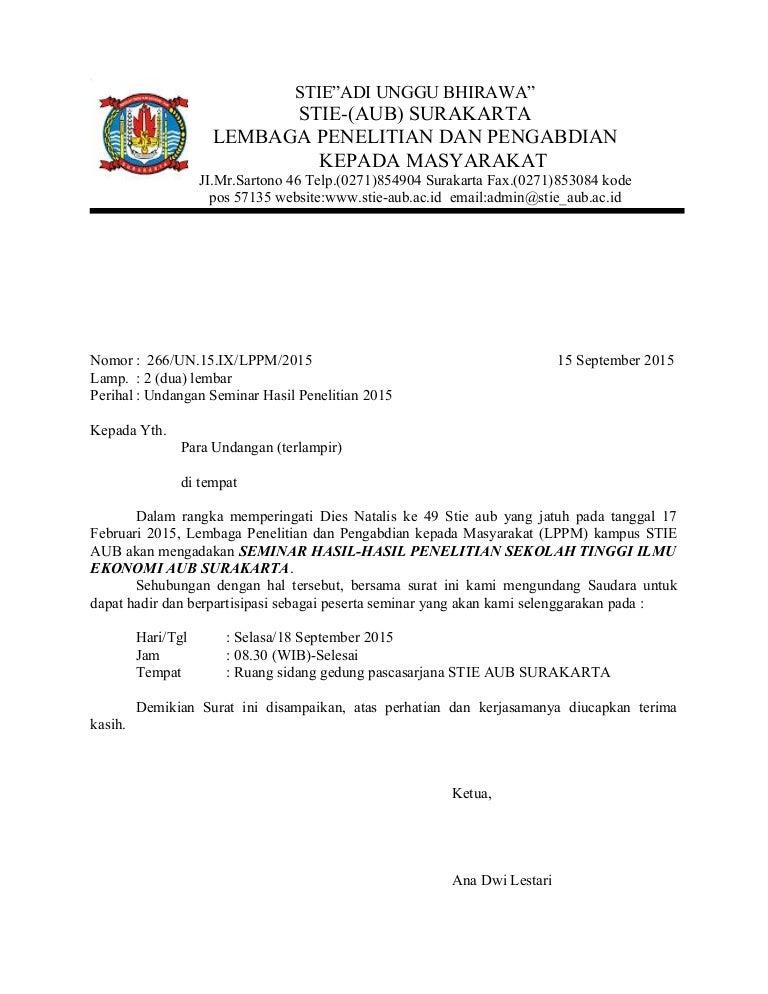 Contoh Surat Dinas Tentang Undangan Seminar