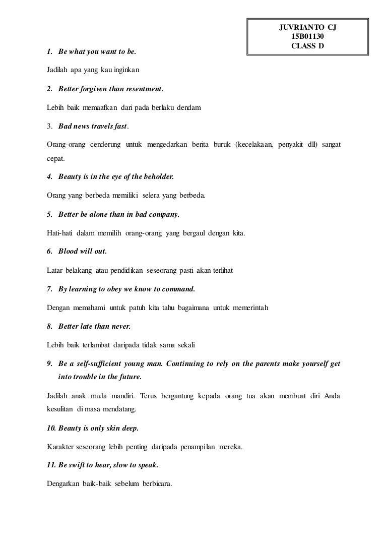 Contoh Proverb Dan Maknanya Dalam Bahasa Inggris Temukan Contoh