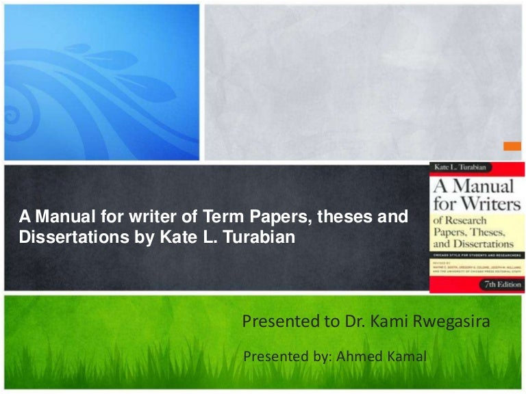 turabian dissertation Turabian citation is a system used by academic workers to explain how and where other authors' discoveries or theoretical achievements are used in their academic papers in fact, it is a simplified version of the chicago format.