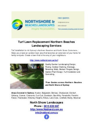 Turf Lawn Replacement Northern Beaches 0415-830-667