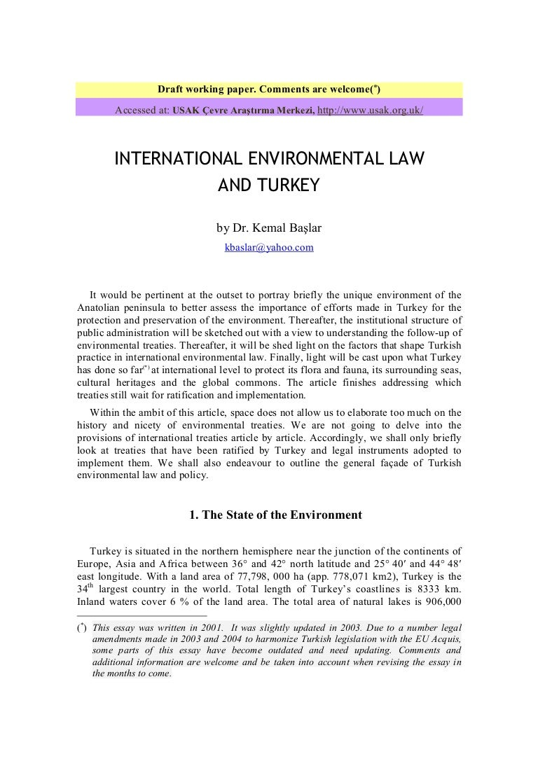 environmental law essay home environmental law university of  turkey and international environmental law