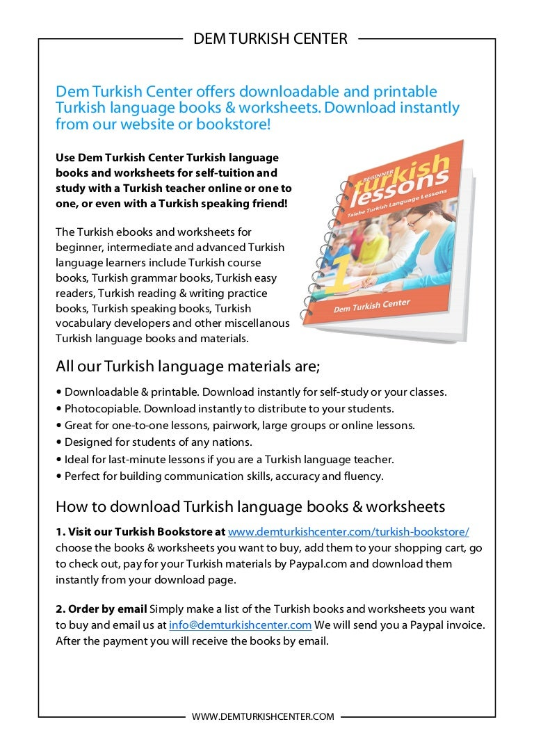 Turkish language books and worksheets