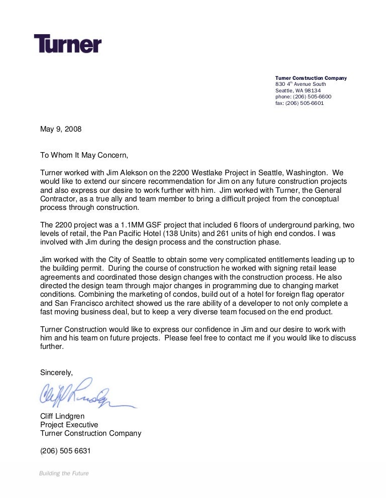 Turner construction letter of recommendation expocarfo Choice Image