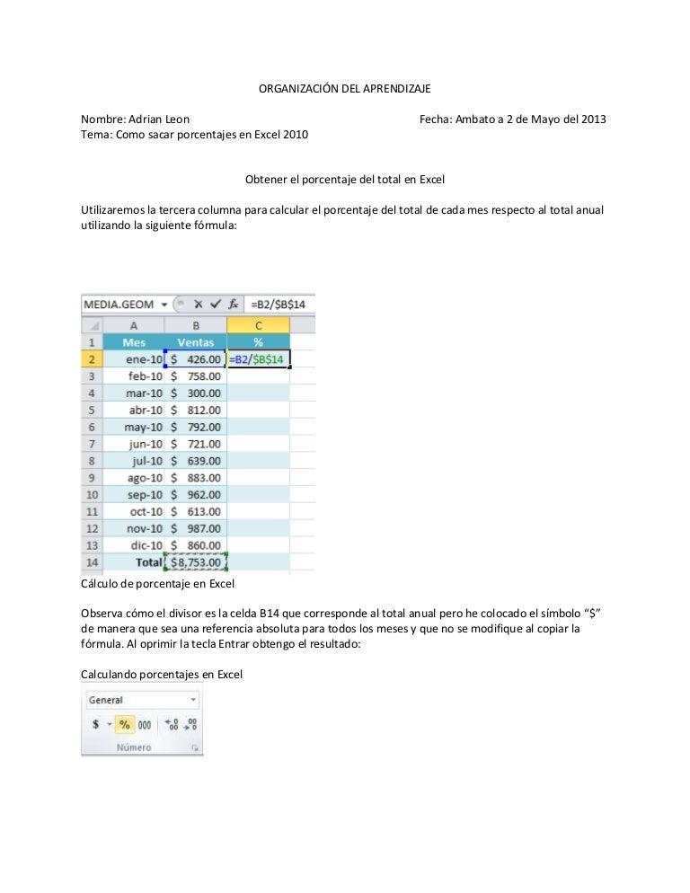 Tutorial De Porcentaje En Excel 2010