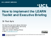 LEARN Final Conference: Tutorial Group | Implementing the LEARN RDM Toolkit