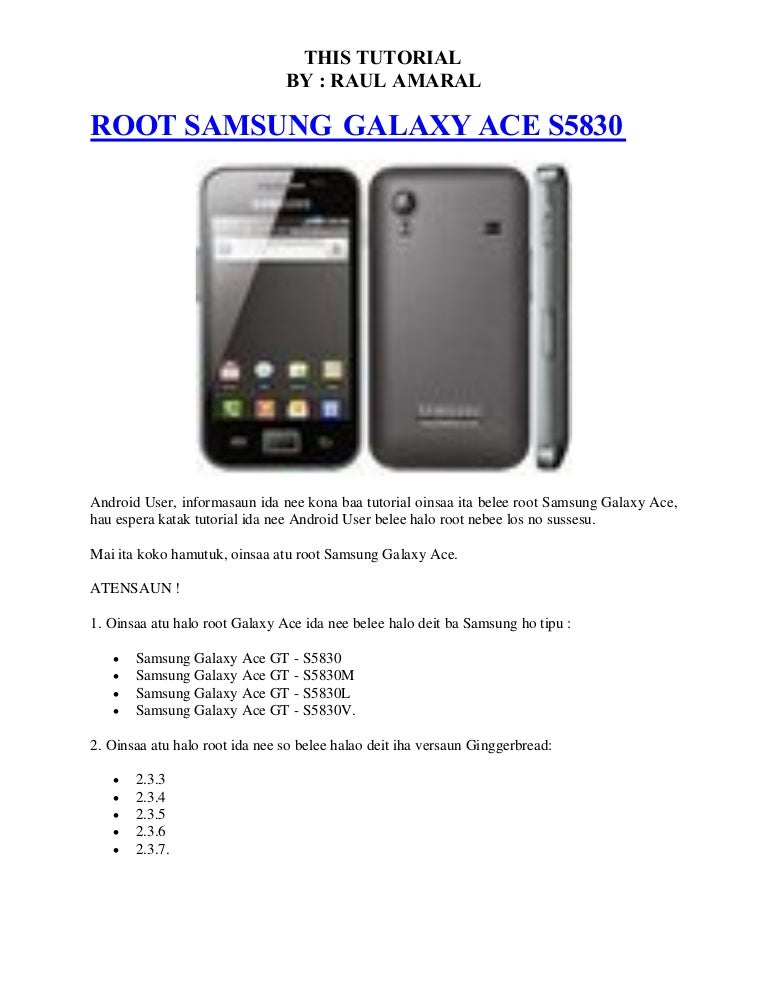 How to root samsung galaxy ace gt 5830 tutorial android advices.