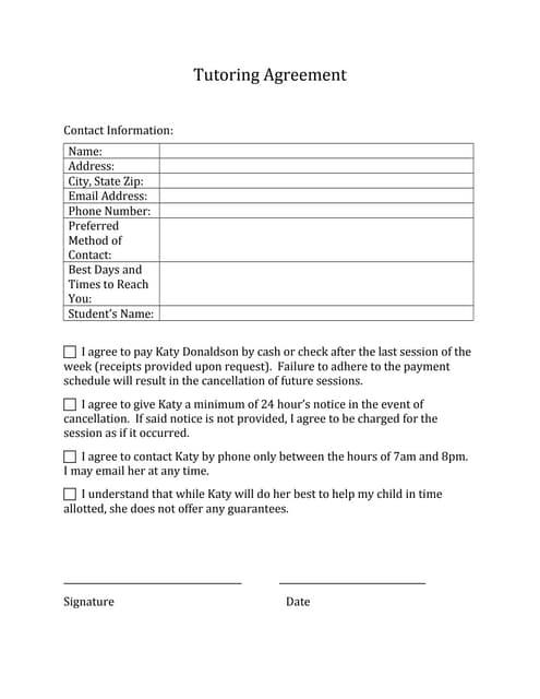Mathematics tutoring contract