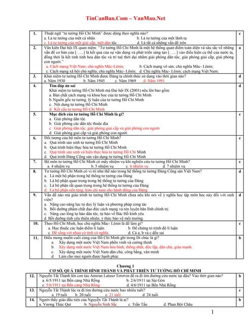 426 câu hỏi trắc nghiệm tư tưởng hồ chí minh - có đáp án ...