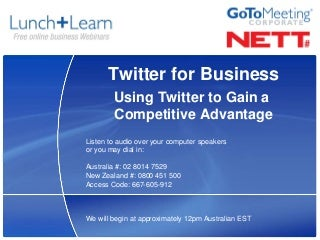 Twitter For Business Lunch+Learn Webinar