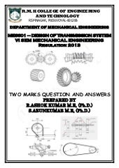 ME6601 DESIGN OF TRANSMISSION SYSTEMS TWO MARK QUESTION & ANSWERS